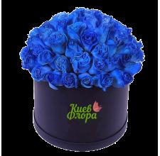 51 синяя роза в шляпной коробке
