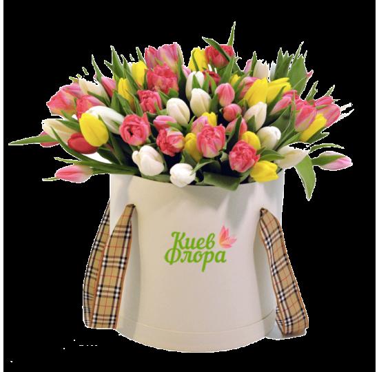 """Коробка с цветами """"Радужный рассвет"""""""