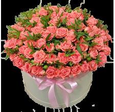 101 оранжевая роза в шляпной коробке