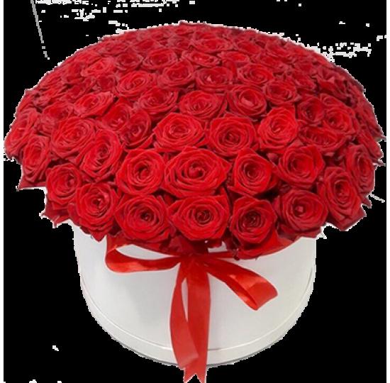 101 красная роза в шляпной коробке