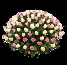 101 белая,розовая и кремовая роза в корзине