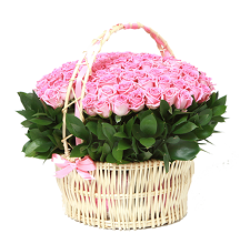 Корзина 75 розовых роз