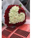 101 роза Белое Сердце