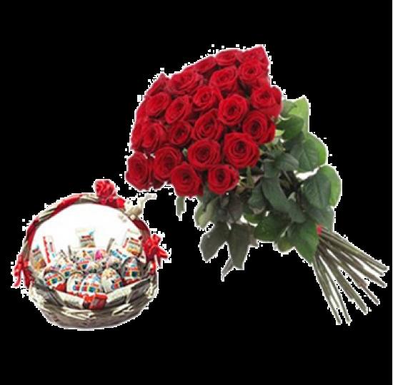 Корзина Kinder + 29 алых роз