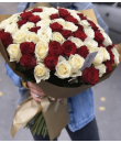 "101 красная - белая роза  ""Венеция"""