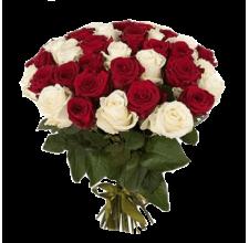 25 белая и красная роза