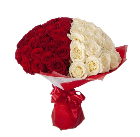 "51 белая и красная роза ""2 половинки"""