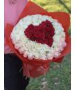 "101 роза ""Красное сердце"""