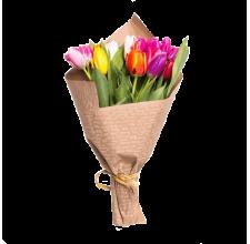 11 разноцветных тюльпанов