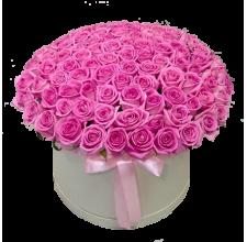 101 розовая роза в шляпной коробке