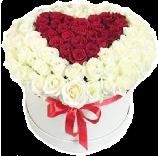 "101 роза в шляпной коробке ""Красное сердце"""
