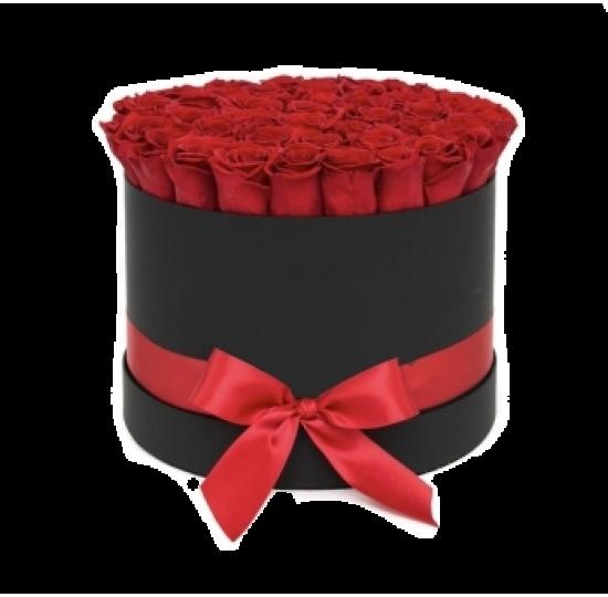 25 или 51 импортная роза в шляпной коробке