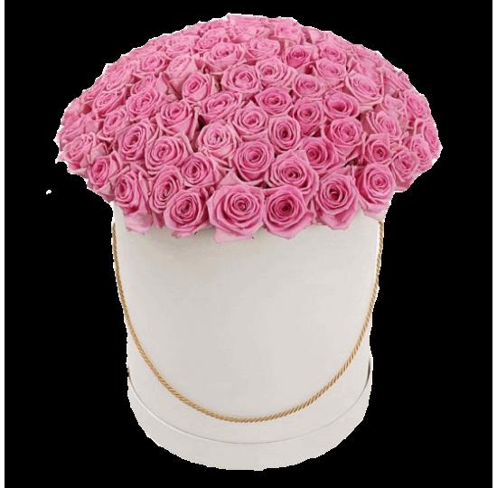 51 розовая роза в шляпной коробке