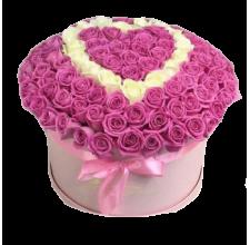 """101 розовая роза в коробке """"Сердце"""""""