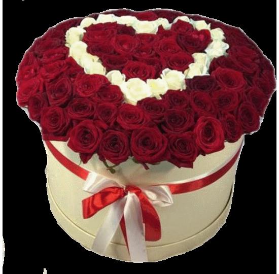 """101 роза в шляпной коробке """"Белое сердце"""""""